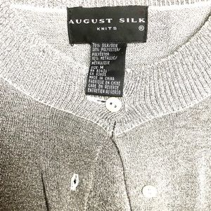August Silk Silver Metallic Cardigan - Size M